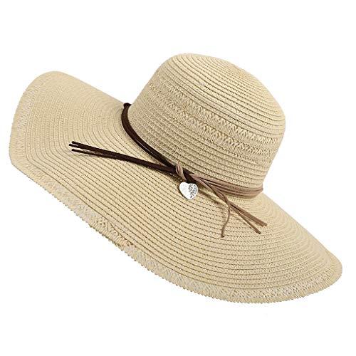 DOLDOA Hut Damen Sommer,Mode Männer Damen Stroh Trilby Fedora Hut Sommer Sun Wide Brim (Beige) Brim Fedora-hut