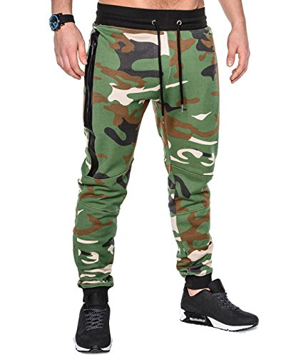 BetterStylz SlvrCatBZ Jogginghose Trainingshose Sportswear Tech Fleece Jogger Hose Sweatpant 3 Farben (S-XXL) (Large, Wood Camouflage) (Camouflage-fleece-hose)