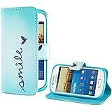deinphone Coque Samsung Galaxy S3Mini étui à rabat en cuir synthétique avec inscription Smile