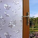 Lukzer 1 PC Flower Design Window Frosted Privacy Glass Film Decorative Sticker for Home Bathroom Office 45 cm x 200 cm, Plast