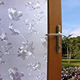 Lukzer 1 Pc Window Frosted Flower Privacy Glass Film for Home Bathroom Office 45 cm x 200 cm
