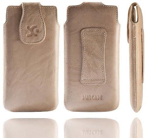 Original Suncase Echt Ledertasche für Nokia Lumia 920 in wash-beige