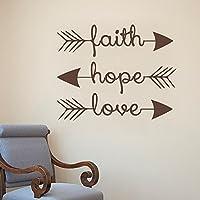 Faith Hope Love–frecce Scripture 1Corinthians Bible Verse Adesivo da parete in vinile da parete Famiglia Citazioni (Nero, 22
