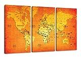 Visario 1165 Weltkarte alle Bilder auf Leinwand Bild 160 x 90 cm Welt drei Teile