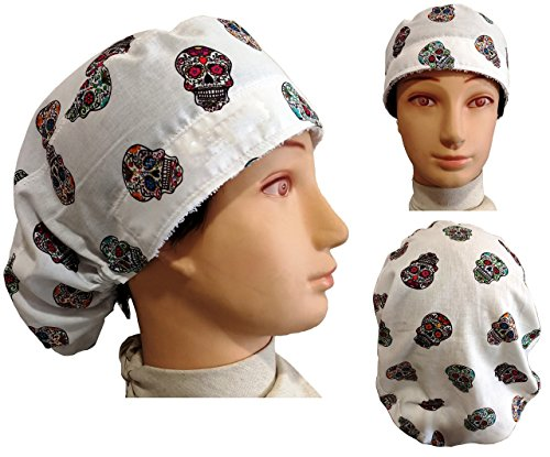 Chirurgische Kappe. Frau WEIß MEJICAN SKULLS für langes Haar. Handtuch auf der Vorderseite und verstellbarer Spanner auf der Rückseite