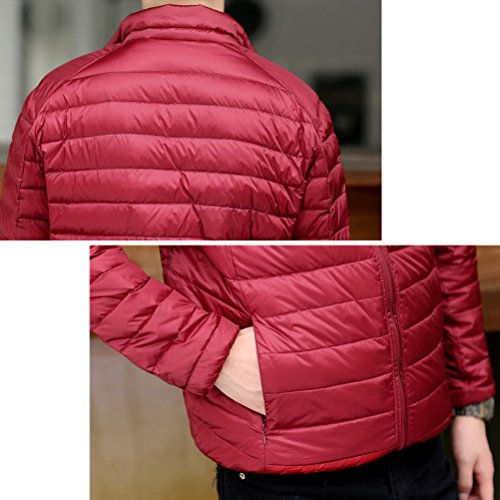 Laixing Oberbekleidung Mens Winter Short Down Jacket Warm Outwear Jacket Double-sided Wear Ultra Lightweight Red & Khaki
