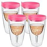 Southern Homewares 4er Pack 2Go Isolierte Vino Doppelte Wand Acryl Wein Trinkglas mit Pink Getränke Durch Deckel, 473ml