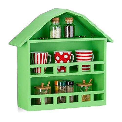 Relaxdays Wandregal Haus mit 3 Fächern, Setzkasten zur Dekoration, matt lackiertes Häuschen, HxBxT 50x52x15 cm, grün