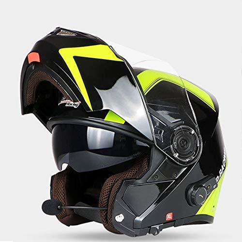 HXZM Casco Full Face Moto/Smart 3,0 Casco Bluetooth con Occhiali Casco Invernale M-L-X Nero,L58~60cm