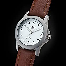NEO watch PURE SILVER - Classic Quartz Watch - Ladies Analogue Wristwatch - 26mm diameter - White dial - Leather strap - N5-006