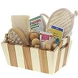 Bade- und Pflegeset aus Bambus mit Bade-/Saunazubehör Massagebürste, Cellulitebürste, Massagegurt, Massageroller