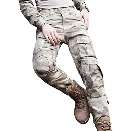 YuanDian Herren Frösche Schlank Passen Tarnung Airsoft Taktisch Militär T-Shirt Militärhose Sets Langarm Camo Armee Top + BW Feldhose Outdoor Camping Uniform Wüste Gobi Hose 40