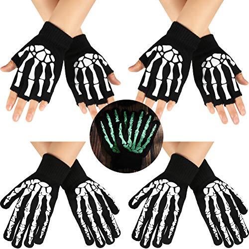 SATINIOR 4 Paar Skelett Handschuhe Halloween Schädel Knochen Handschuhe Schwarz Leuchtende Gestrickte Skeletthandschuhe (Vollfinger und Halber Finger)