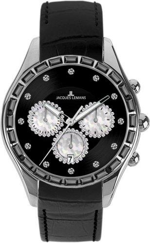 Jacques Lemans Damen-Armbanduhr Capri Analog Leder schwarz 1-1646A