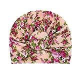 Lazzboy Baby Mädchen Geknotet Blumendruck Blumen Hut Beanie Headwear Cap Haarband Stirnband Elastische Bowknot Kopfband Turban Schleife Haarschmuck Für Kleinkinder(D)
