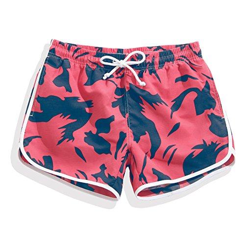 HOOM-Nouveau pantalon de plage d'été occasionnels Shorts hommes Camo coton taille lâche cinq pantalons shorts Red female