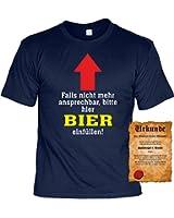 T-Shirt ,Funshirt, Motiv - Sprüche Shirt und Spaßurkunde Geschenke Set, Bier einfüllen