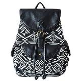 Guran® Damen Mädchen Leinwand Trekking Rucksäcke Reisetasche/ Kinder rucksack -Schwarz Weiß Diamant Und Schwarz PU