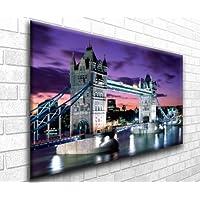 Torre di Londra al crepuscolo paesaggio urbano moderno splendida stampa artistica su tela Wall Art–Cornice pronta da appendere in your home interior (76,2x 50,8cm)