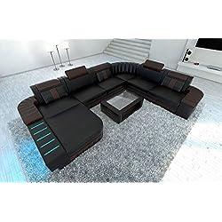 Diseño Conjunto de Muebles Para Salón BELLAGIO XXL con iluminación LED Negro/marrón oscuro