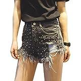 Mujer Pantalones Cortos Vaqueros Con Remaches, Vintage Rasgado Corto Jeans Pantalones Negro Gris M