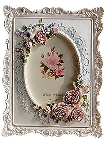 Giftgarden Bilderrahmen 10x15 mit Rosen idyllisch oval Fotodisplay Fotorahmen Deko weiß Rahmen Hochzeit Familie Geschenke für