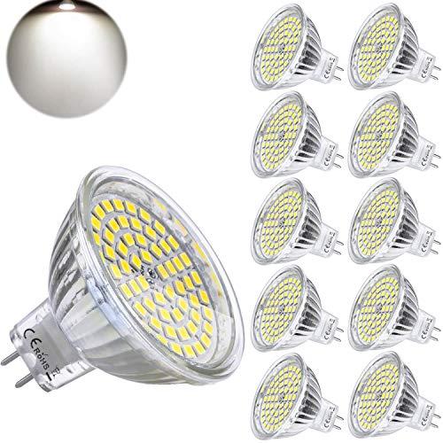 MR16 GU5.3 LED Blanc Naturel 4000K 12V 5W Ampoule Equivalent à 35W Halogène Lampe 420 Lumen Douille Spot 120°Faisceaux Non-dimmable Ø50 x 48 mm (Lot de 10)