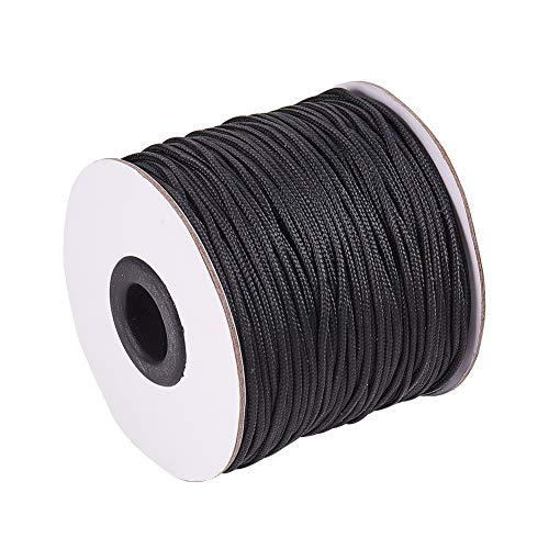 PandaHall Elite Hilo de Nailon Trenzado para persianas venecianas/enrollables de Repuesto, Negro, 1.5mm-100 Yards
