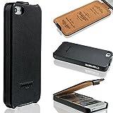 iPhone SE/5s/5 Hülle - ECHT LEDER - HANDGEFERTIGT - Zubehör Case Etui IPhone Flip Case Schutzhülle von TWOWAYS - Farbe Schwarz