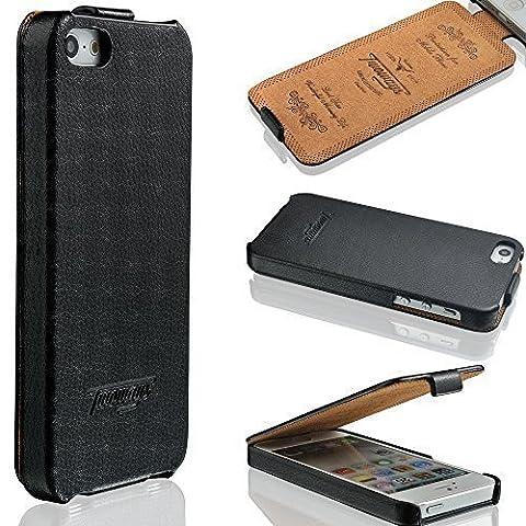 iPhone SE / 5s / 5 Hülle - ECHT LEDER - HANDGEFERTIGT - Zubehör Case Etui IPhone Flip Case Schutzhülle von TWOWAYS - Farbe