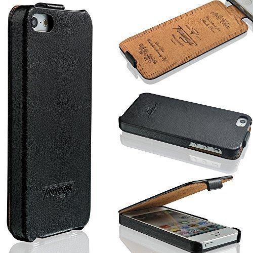 ülle - ECHT LEDER - HANDGEFERTIGT - Zubehör Case Etui IPhone Flip Case Schutzhülle von TWOWAYS - Farbe Schwarz ()