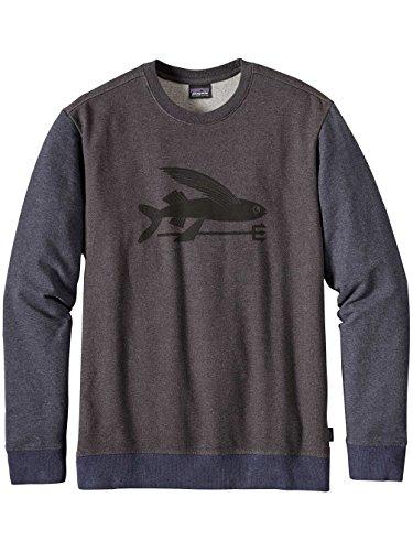 Herren Sweater Patagonia Flying Fish MW Crew Sweater black w/smolder blue