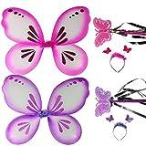 com-four® Alas de mariposa, rosa y púrpura, cada una con diadema y varita, juego de disfraces, traje para niños
