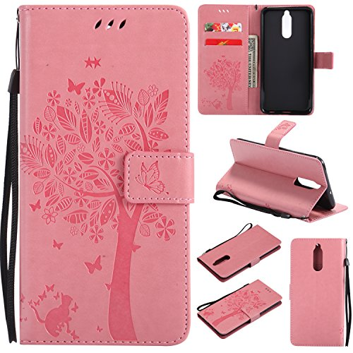 Coque Huawei Mate 10 Lite, [Shock Absorption] Ultra Doux Nouveau design Luxury Case Housse Etui PU Silicone Housse avec protection robuste coque PU souple Case Cover #Y (Rose)