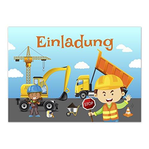 zum Kindergeburtstag - Bauarbeiter Baustelle - für Jungen / Jungs / Mädchen - Geburtstagseinladungen im Set ()