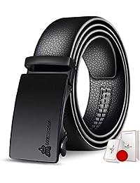 Yingsssq Cinturón de Cuero para Hombres Cinturones de Trabajo de Negocios  con Hebilla automática (Color 0026cb919276