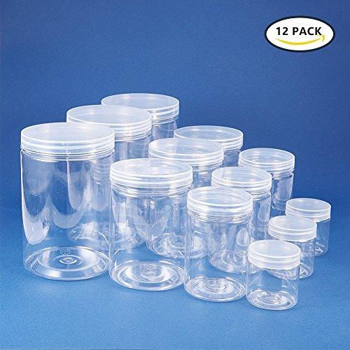 BENECREAT 12 PACK durchsichtigen Kunststoff-Box f¨¹r S¨¹?igkeiten Zylinder, Display, Lagerung, Verpackung, Organisation und Pr?sentation (4 Gr??e)