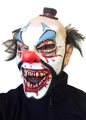 Top Hat Scary Clown Maske von Gummi Johnnies, Zähnen, Haar, Horror, One (Big Scary Clown)