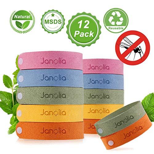 Janolia Mückenschutz Armband, 12 Stück Insektenschutz-Armband, Reusable Repellent Wristband, Sicheres Deef-Freies und Wasserdichtes, für Kinder, Erwachsene, Camping, Reise