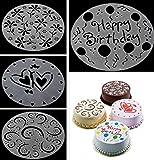 Katech 4 piezas de DIY molde de tarta de cumpleaños de impresión modelo moldes diferentes patrones...