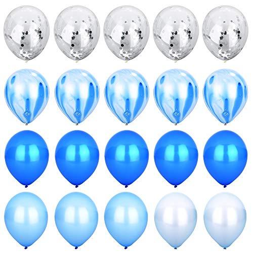 MEANS 40 Stck Geburtstagsfeier Dekorationen Luftballons Set, Silber Konfetti und Blau Achat Marmor Luftballons Royal und hellblau weiße Latex Luftballons für Hochzeit Baby Duschen Weihnachtsfest