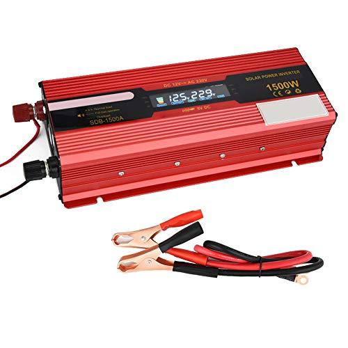 CAPTIANKN 1500W Power Inverter, DC 12V to AC 110V 220V mit Display Converter Lighter Adapter mit 1 Universal AC Plug und 1 USB-Port,12vto220v 1500w Power Inverter