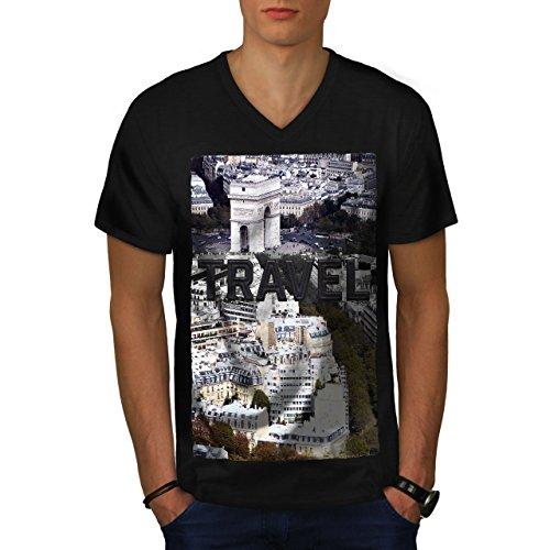 wellcoda Reise Paris Stadt Mode MännerV-Ausschnitt T-Shirt Reise Grafikdesign-T-Stück (Center Stück Paris)