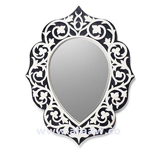 Osso intarsio specchio cornice floreale nero Handmade Antique Home Decor (Intagliato A Mano Pavimenti In Legno)