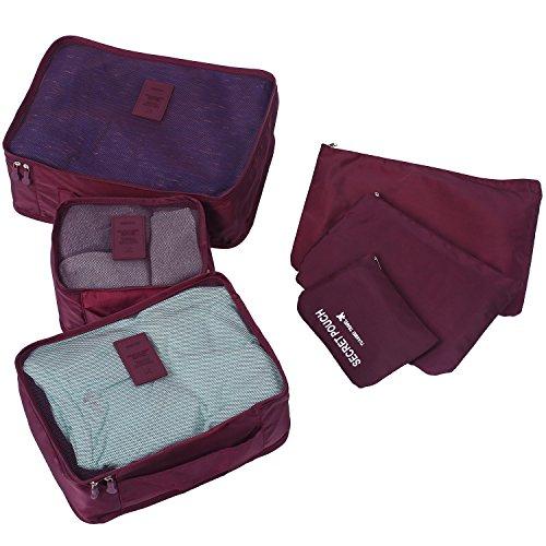 Molain 6-en-1 Set de Organizador de Equipaje, Impermeable Organizador de Maleta Bolsa para Ropa Sucia de Viaje, Material Nylon (Tinto)