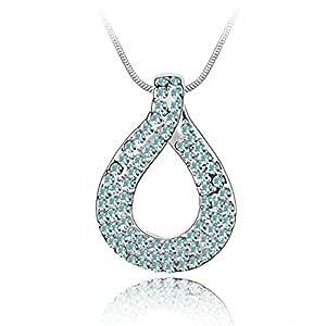 TTH Crystal Pendant Short Necklace [Knot of Love, Aquamarine ] 18KGP Rhinestone