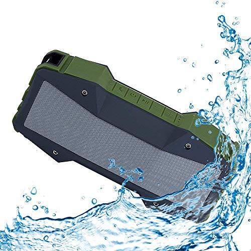 POHO Bluetooth Lautsprecher Wasserdicht IPX7 mit FM Radio, mit Eingebauten Mikrofon, NFC, Aux, 10W Dual-Treiber und verbesserter Bass, 20 Stunden Spielzeit, unterstützen 256 GB Micro SD Karte (Grün)