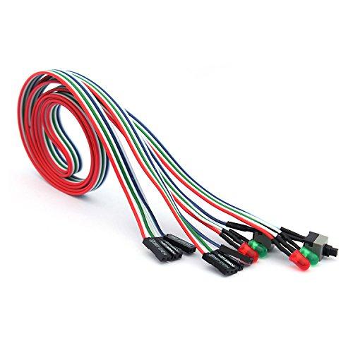 Ytian 2 Stücke 3 in 1 PC Desktop-Gehäuse ATX Stromversorgung neu HDD-Schalter LED-Lampe Leitungsdraht 55 cm