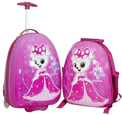 Kinder Mädchen Jungen Reise Koffer Set mit Hartschalen Rucksack und Trolley für Kindergarten Ausflüge Urlaub (Princess)