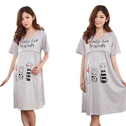 FEITONG Las mujeres embarazadas grandes Lactancia gato ropa linda de enfermería vestido de maternidad (free size, Rosa caliente)